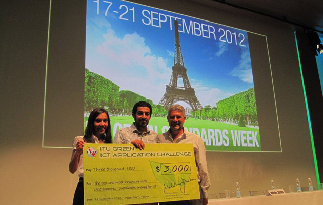 First prize award at the ITU Green ICT Applications Challenge for Social Electricity, 17-21 September 2012, Paris, France